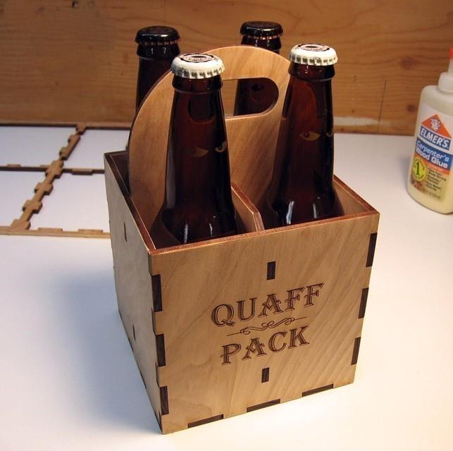 Custom engraved wood personalized beer 4-pack.