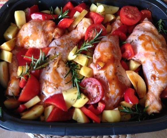 Rezept BBQ Hähnchen mit Kartoffeln von Kaja72 - Rezept der Kategorie Hauptgerichte mit Fleisch