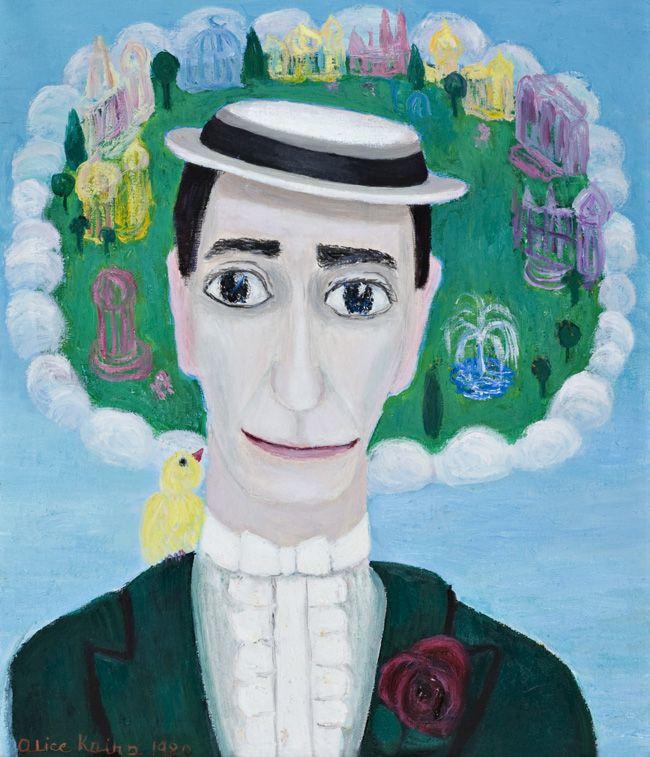 Alice Kaira: Buster Keaton taivaassa, 1980, öljy kankaalle,  47x38,5 cm - Oulun Taidemuseo