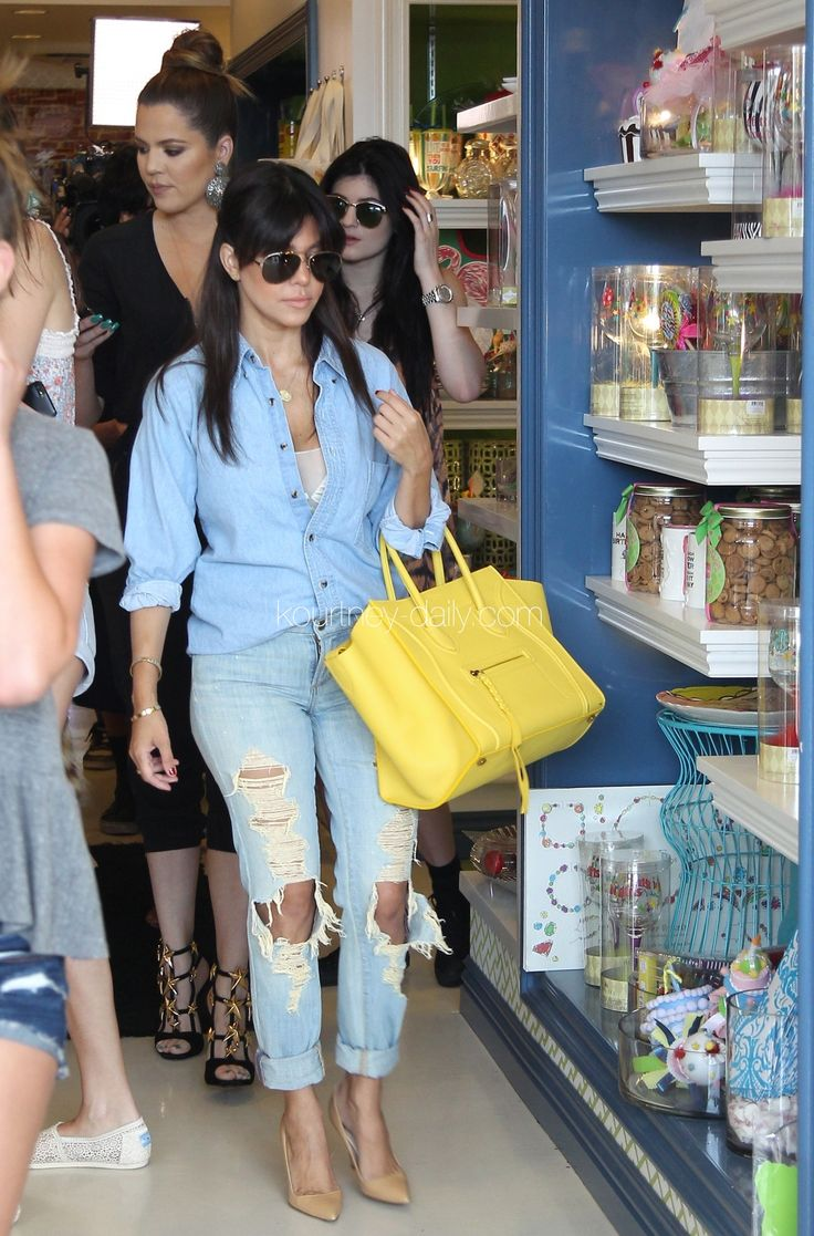 all denim and yellow Celine