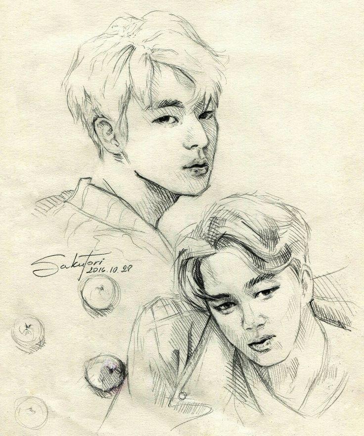 fanart of BTS members Jin and Jimin by SakuTori