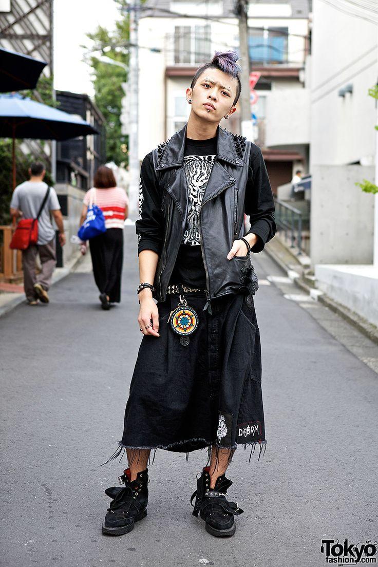 Japanese Hardcore Fan w/ Lilac Mohawk, Studded Vest, Blackmeans & Fuudobrain Japanese Hardcore Fan in Harajuku – Tokyo Fashion News