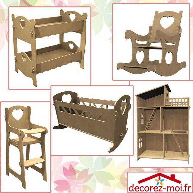 Meubles en bois pour poupée ou animaux, lit simple en bois, lit double, chaise haute, lit à bascule, rocking chair, armoire de poupée, maison, château fort. Montage sans colle, clous et vis.
