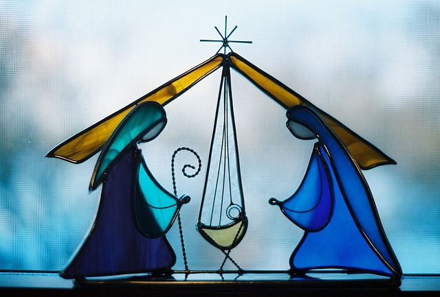 ♣Stained glass Nativity this represents what CHRIST-mas really means!!!♣ツ