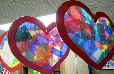 Valentine stained glass  window hanging craft for kids