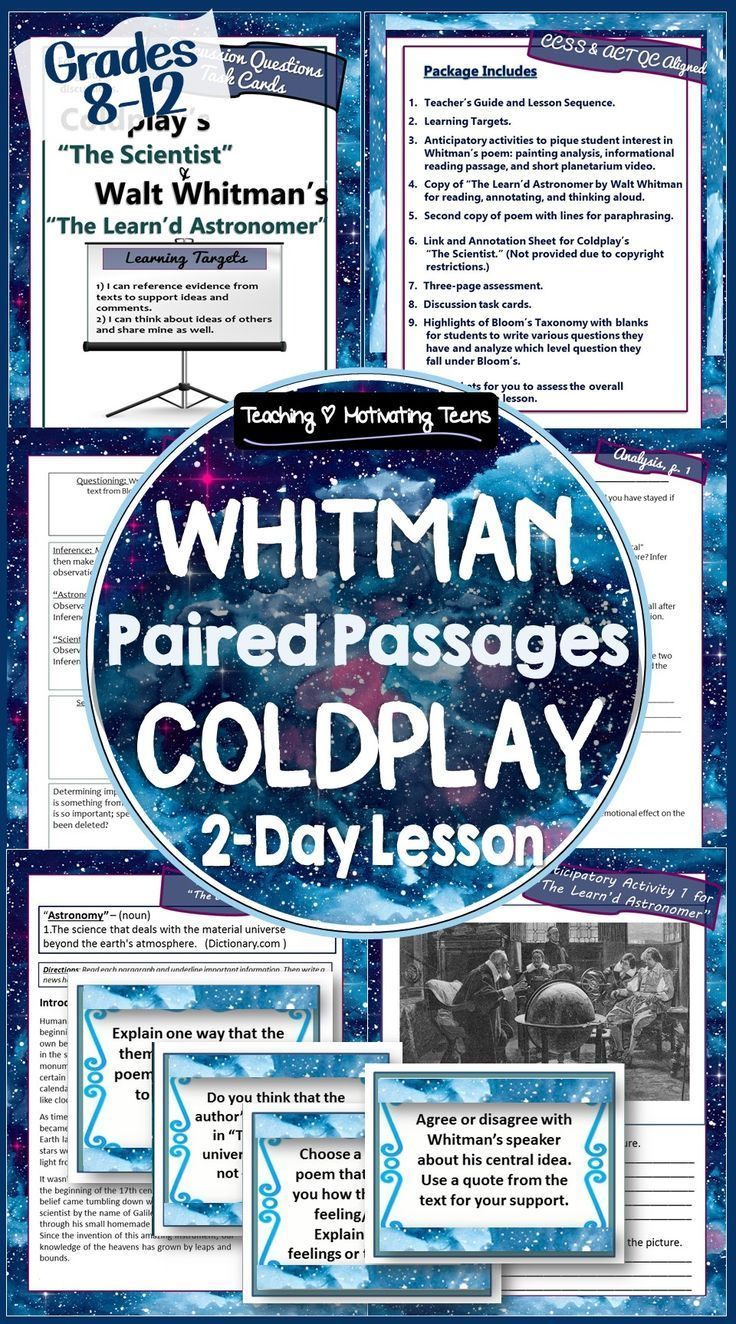 Songtexte Von Coldplay Walt Whitman Poetry Paired Passage Bildung2 Lesson Activities Teaching Paraphrasing With Song Lyrics Lyric