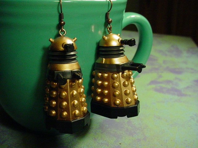 Russell T Davies style Doctor Who Daleks Earrings. $23.00, via Etsy.