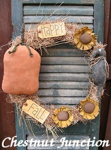 Happy Fall Wreath primitive pattern & epattern by Chestnut Junction.
