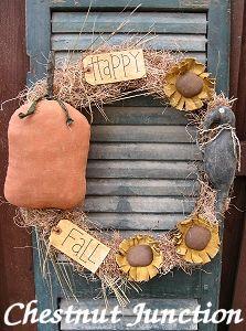 Happy Fall Wreath primitive pattern & epattern by Chestnut Junction.