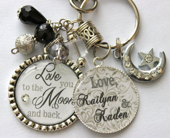 I love you to the moon and back keychain name grandma door TrendyTz, $27.99