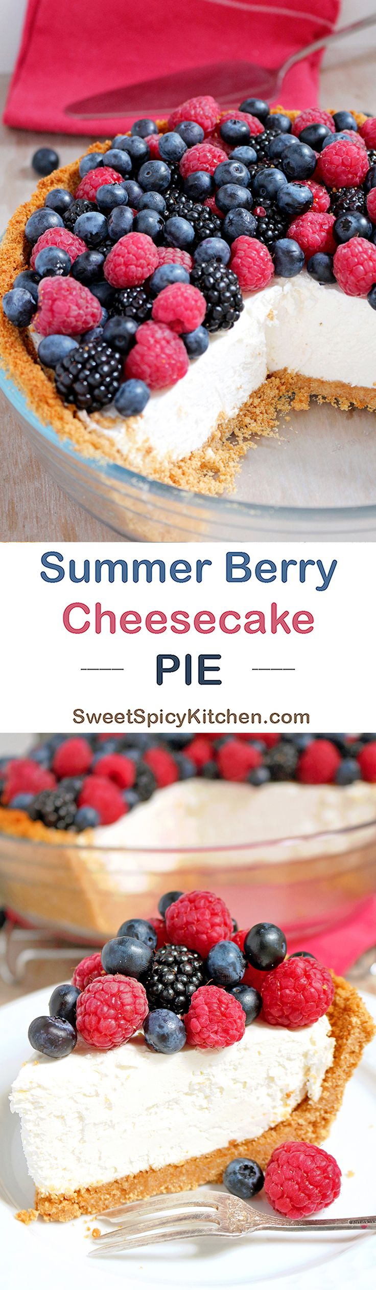 Summer Berry Cheesecake Pie a summer pie with cream cheese and fresh berries. Summer is here. Light meals and desserts and loots of fresh fruit are on menus