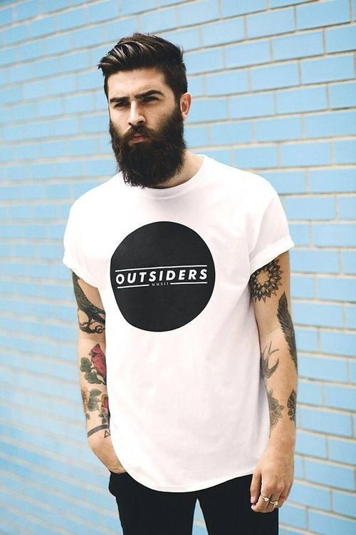 Hip. Cave. Men. Fashion. Urban. Outfit. Clean. Street Style. Black White. Big Print. Tee. OUTSIDERS. Gang. Groomed. Beard Sidecut. Rolled Up. Tattoo. Classic. Oversized. Slim. Fit. Great match. Concrete. Blue. Bricks.