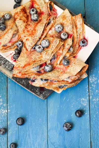 Poppyseed pancakes with blueberry cream cheese filling