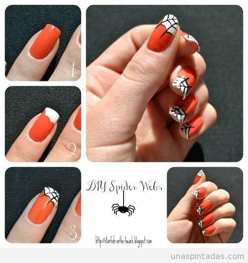 Tutorial paso a paso, diseño de uñas para Halloween con una telaraña