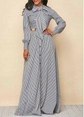 Tie Neck Stripe Print Button Up Maxi Dress | Rosewe.com - USD $36.20