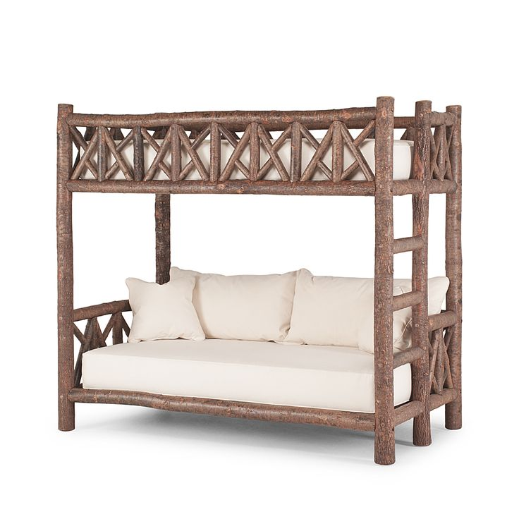 Rustic Bunk Bed #4257 shown in Natural Finish (on Bark) by La Lune Collection