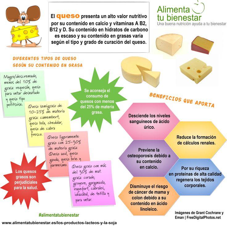 Tipos de quesos y sus beneficios para la salud #alimentatubienestar #infografia