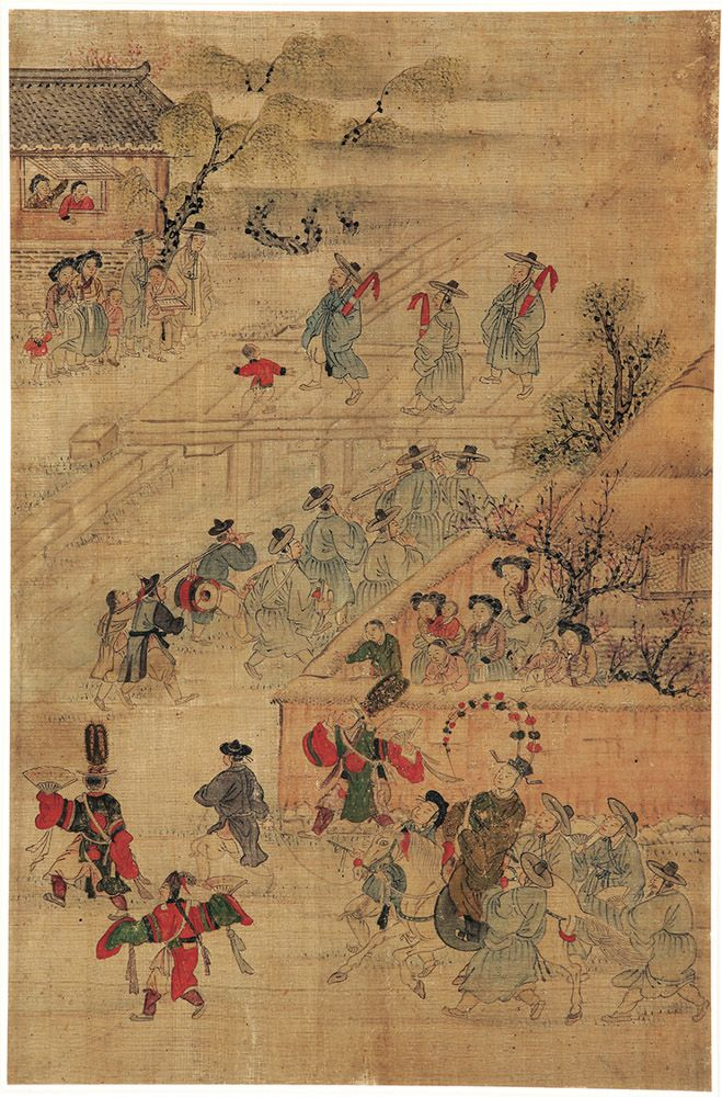 Highlights of an illustrious lifetime: Passing of the state examination, by attrib. to Kim Hongdo (Korean, 1745–approx. 1806). Korea, Joseon dynasty (1392–1910). Ink and colours on silk.