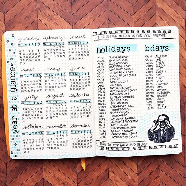 Year at a glance layout