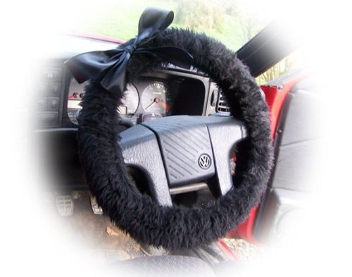 Cute Black fluffy faux fur car steering wheel cover with Black...