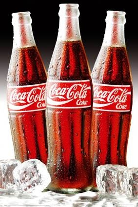 Coca-Cola - 3 flessen met ijs