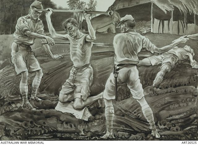 An incident on the Burma railway. Reconstruction of a scene witnessed by Colonel Dillon, of the bashing of two British and one Australian prisoners of war by Japanese on the Burma-Thailand railway. Griffin originally volunteered to go to the railway, thinking conditions might be better. He gave up his spot for another man and remained in Changi for his entire captivity. Griffin sought to make records of events and conditions that occurred on the railway from survivor testimony.