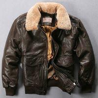 Avirex vuelo de la fuerza aérea cuello de piel genuina chaqueta de cuero del café oscuro abrigo de piel de oveja piloto para hombre chaqueta de bombardero