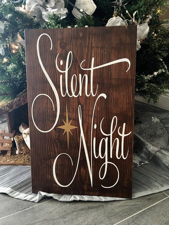 Decorating for Christmas is more unique when you add this beautiful rustic style Silent Night sign to your decor. Will look perfect on your mantle or hung on your wall! Sign measures approximately 12x11. Expertly hand cut and sanded to perfection. Made from high grade pine wood and