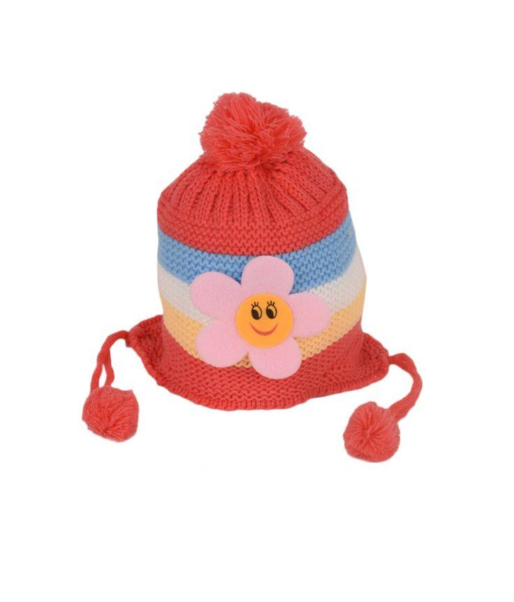 Tiekart Red Woollen Cap for Kids