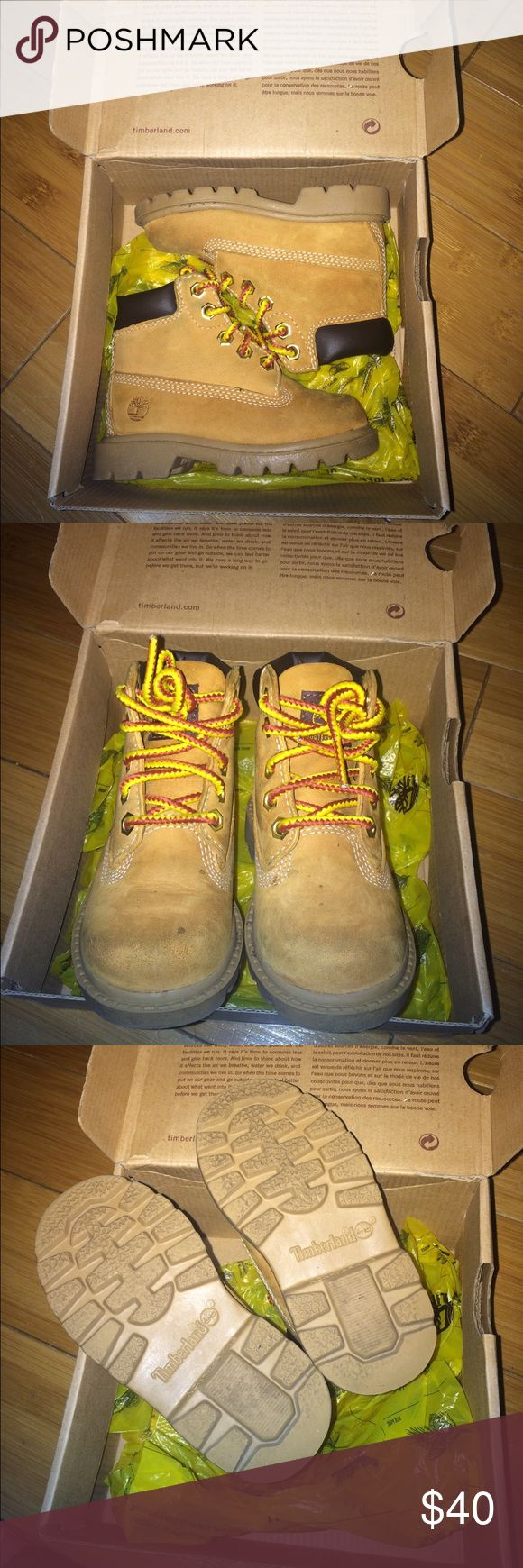 """Toddler Timberland size 6 These toddler Timberland still have plenty of life as you can see at the bottom of the shoe. The only issue is the front that is a little """"used"""". If you can live with that, this is a great deal for you kid! Timberland Shoes Boots"""