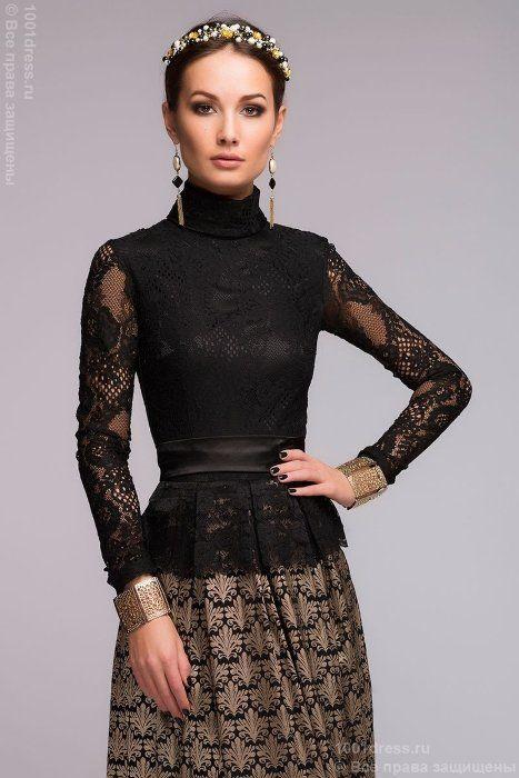 Черное вечернее платье из жаккарда с золотым орнаментом и кружевным верхом 1