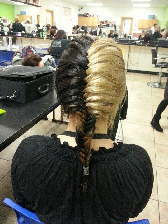 Awesome half and half colored hair in a fishtail braid
