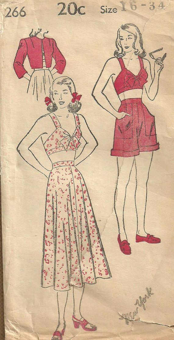 Vintage 40s Sewing Pattern / Swimsuit Bathing Suit Playsuit / New York 266 / Size 16 Bust 34