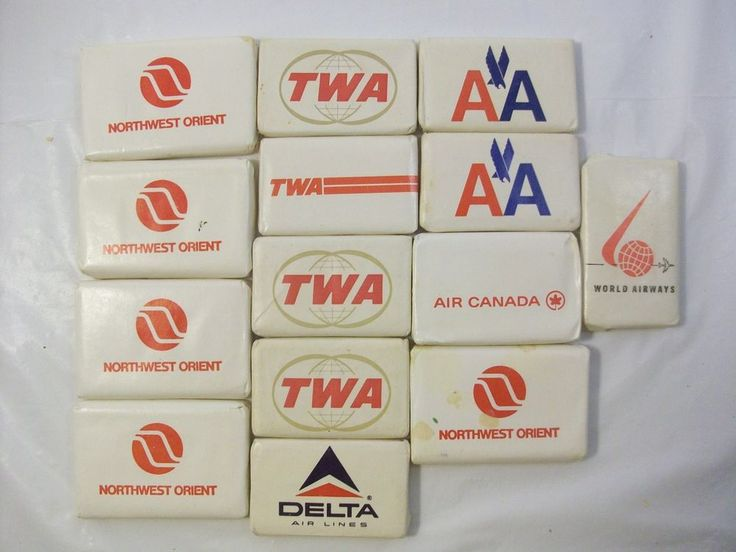 Vtg Lot Airline Soaps TWA Delta Northwest Orient AA American Airlines Air Canada
