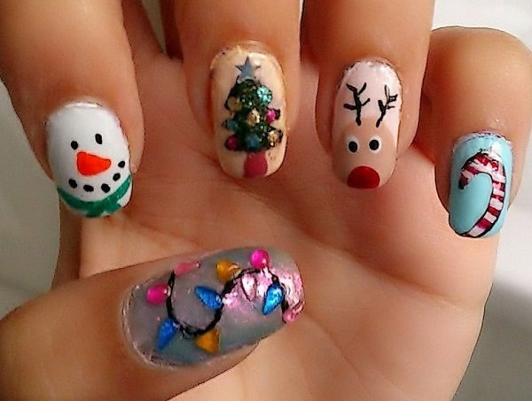 Simple but fun looking Christmas nail art. Draw Christmas related characters such as candy canes, reindeers, Christmas, Christmas lights and so on. You can add glitter polish as well as colorful beads on top to lift up the design more.
