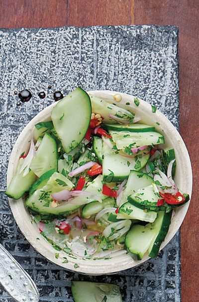Ajad (Thai Cucumber Relish) Recipe - Saveur.com (sub out the distilled vinegar for apple cider vinegar = gluten free)
