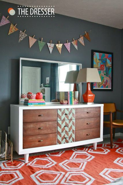Great vibrant room and updated #dresser! Very #modern and chic.