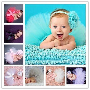 12 kleuren mooie pasgeboren baby tutu rok mode peuter kinderen foto prop set met bloem haaraccessoires hb356b