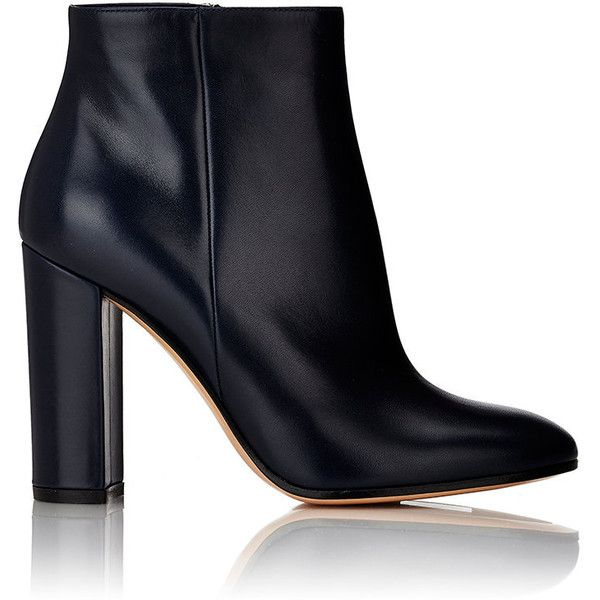 Gianvito Rossi Leather Side-Zip Ankle Boots ($975) ❤ liked on Polyvore featuring shoes, boots, ankle booties, ankle boots, heels, blue, heeled ankle boots, high heel bootie, chunky heel ankle booties and blue leather boots