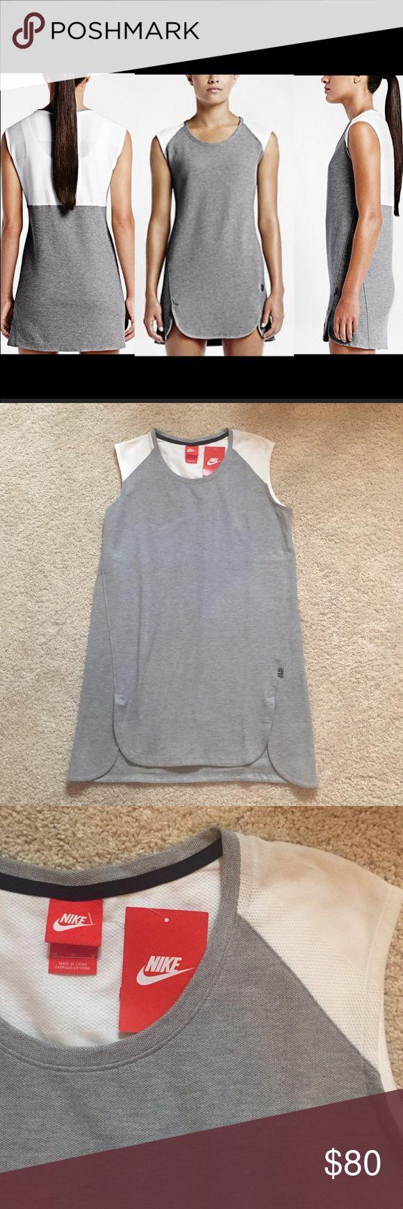 Nike Dress Sleeveless Nike dress, white and grey. 100% cotton. Brand new with tags. Nike Dresses