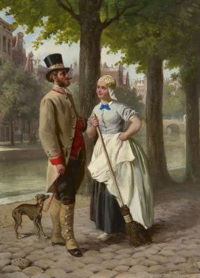 Jan Jacob Zuidema Broos (1833 -1877 or 1882) Romance along the canal, Amsterdam oil on panel. Collection Simonis & Buunk, The Netherlands