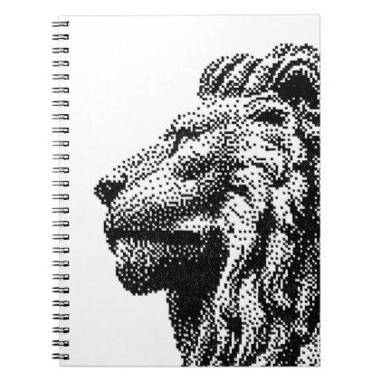 Royal Lion C64 Style Hand-Drawn Pixel Art Notebook - black and white gifts unique special b&w style