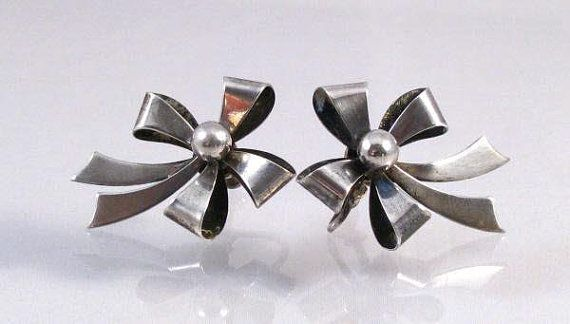 40s sterling silver large bow screw on by theCollectedCollage, $52.00