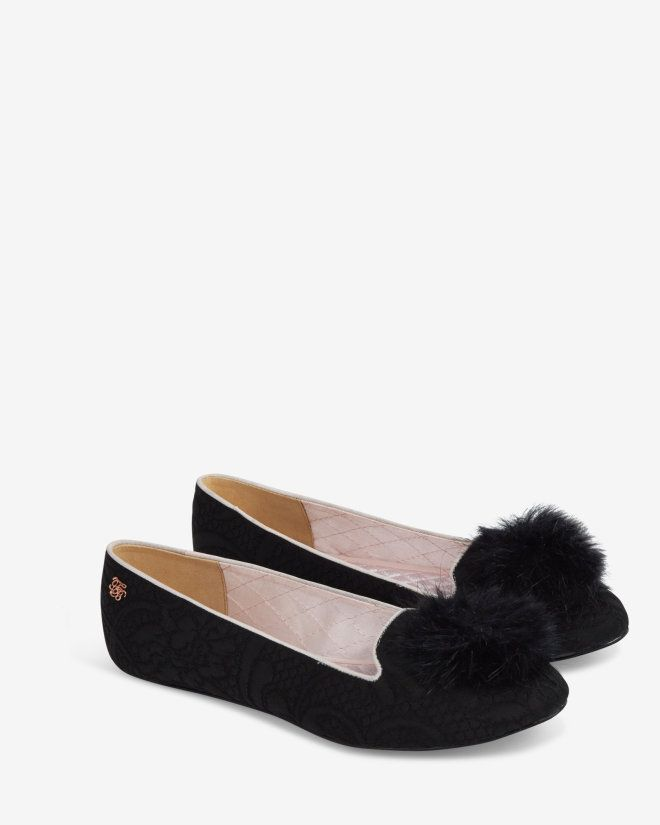 Pom pom slippers - Black | Shoes | Ted Baker