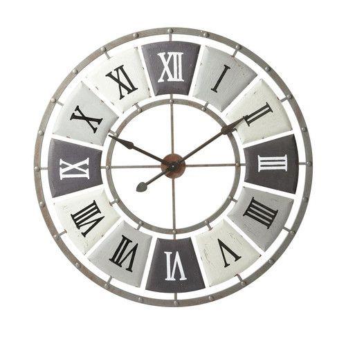 Reloj de metal efecto envejecido Diám. 100 cm IMPRIMERIE