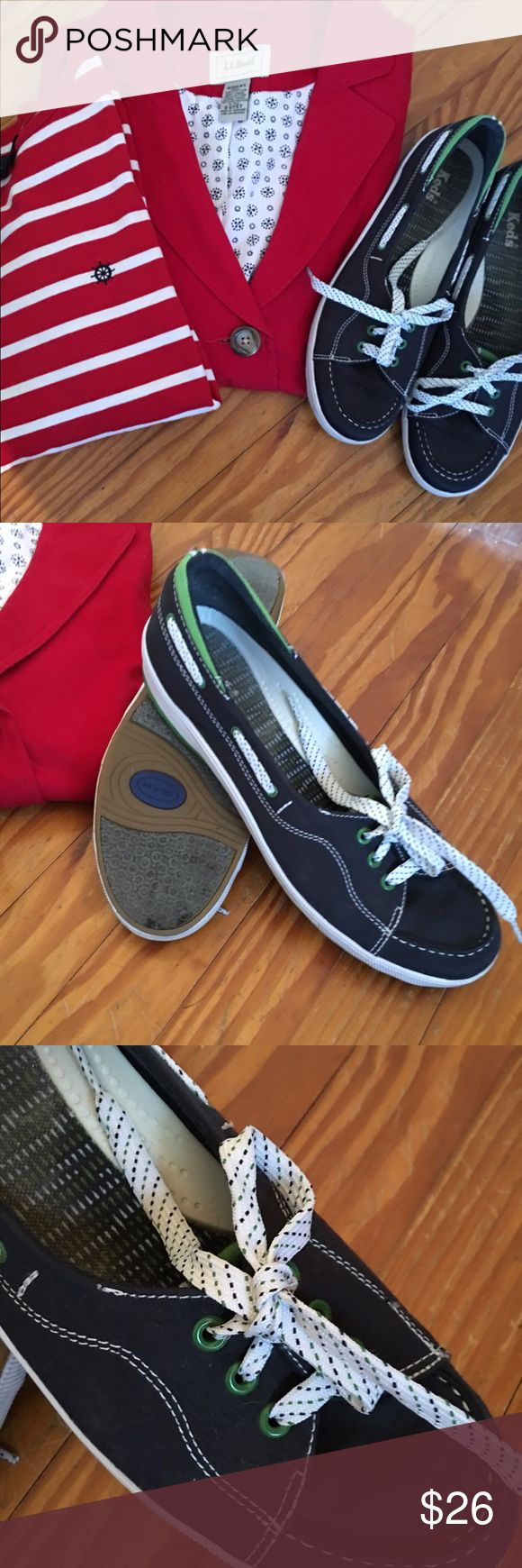 Keds Boat Shoes Navy canvas boat shoe style with lime green eyelets and trim. Dotted shoelaces. Non-slip soles. Perfect condition. keds Shoes Flats & Loafers