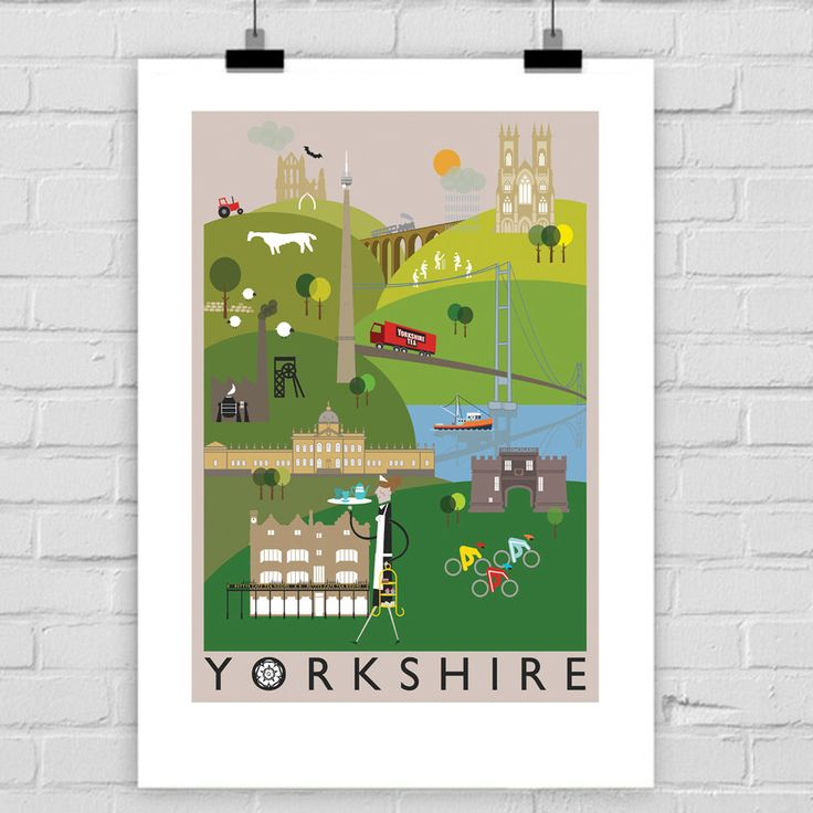 Yorkshire County Illustration Print A4/A3/A2 poster illustrated, Whitby, York, Emley Moor, Yorkshire Tea, Skipton, Bettys, Tour de Yorkshire by BJEartshop on Etsy https://www.etsy.com/uk/listing/491064496/yorkshire-county-illustration-print