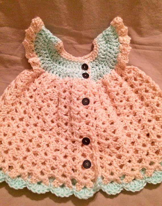 Crochet Newborn Dress Newborn Dress Pinafore Dress Newborn