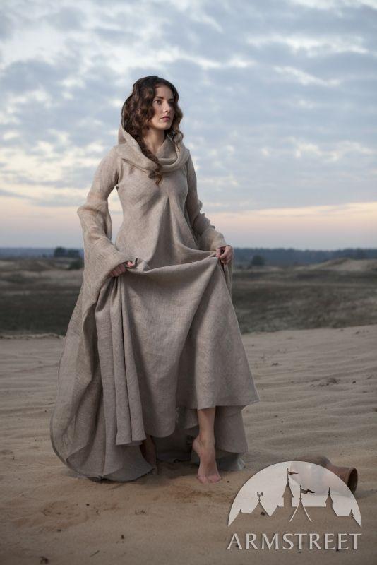 """Fantasykleid """"Die Pilgerin"""" aus grobem Leinen"""