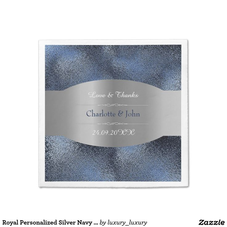 Royal Personalized Silver Navy Blue Glass Wedding Paper Napkin